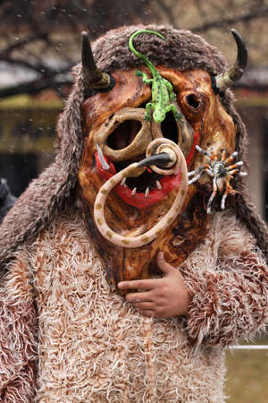 ethnic customs: Pernik, Bulgaria - January 25, 2014: Unidentified boy with traditional Kukeri costume are seen at the the International Festival of the Masquerade Games Surva in Pernik, Bulgaria. Surva takes place the last weekend of January and its the biggest event of