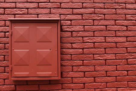 metal box: Brick wall background horizontal, metal box on the wall Stock Photo