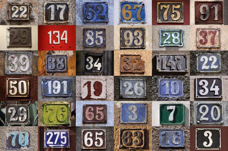 assigning: Collection of House numbers, old house number, vintage Stock Photo