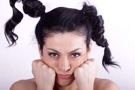 voluptuous women: Beautiful brunette woman with beauty long curly hair. Fashion model Stock Photo