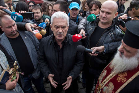 nationalist: Sofia, Bulgaria, October 28, 2015: Volen Siderov - leader of the nationalist party Attack of Bulgaria to protest
