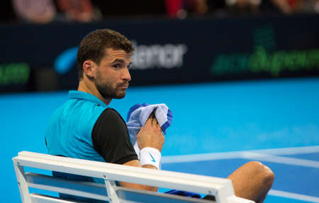 defeated: Sofia, Bulgaria - November 28, 2015: Sofia, Bulgaria - Grigor Dimitrov defeated Monfils in a demonstrative match in Arena Armeec hall, Sofia, Bulgaria