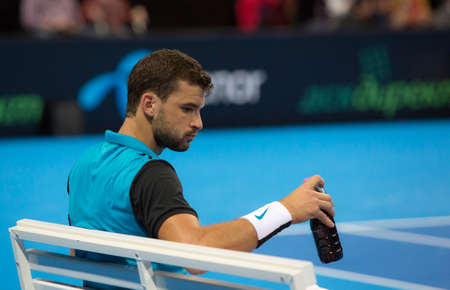 demonstrative: Sofia, Bulgaria - November 28, 2015: Sofia, Bulgaria - Grigor Dimitrov defeated Monfils in a demonstrative match in Arena Armeec hall, Sofia, Bulgaria