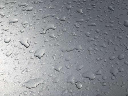 aqua: Detail of water drops on a gray car window