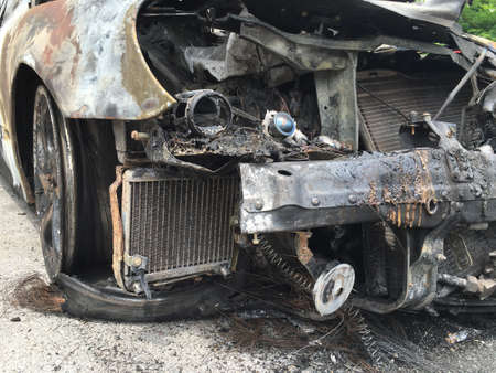 burnt: Burnt car in the street