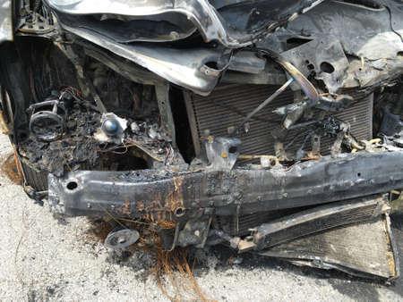 burnt: Burnt car in the street