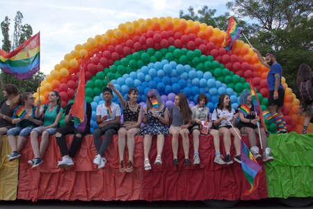 Sofia, Bulgaria - June 10, 2017: People celebrating at the 10th Sofia Gay Pride Editorial