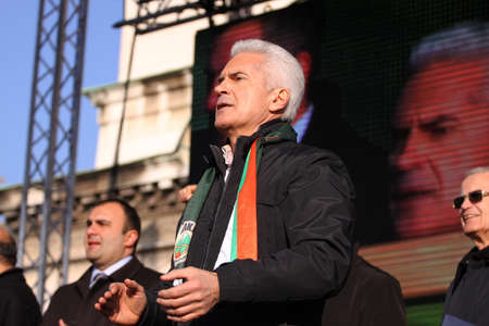 Sofia, Bulgaria, March 03, 2013: Volen Siderov - leader of the nationalist party Attack (Ataka) of Bulgaria