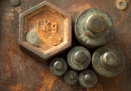 Weights for retro scales. Vintage weight for a balance scale, Balance weights.