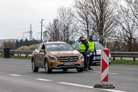 Sofia, Bulgaria - March 20, 2020: Police control the entrance of Sofia, the capital of Bulgaria is quarantined by the COVID -19 virus, photo taken March 20, 2020, Sofia, Bulgaria. Editorial
