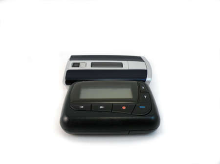 pager: Pager and cell phone isolated on white
