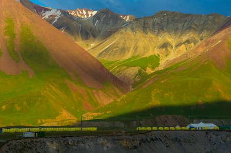 Base camp near Lenin Peak and amazing mountain landscape Stock Photo