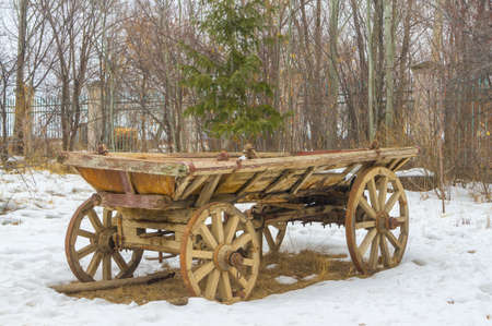 Old wooden cart in the village park