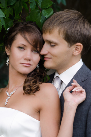 Bride and groom outdoor wedding portraits photo