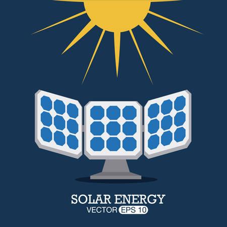 solar energy: Ecology design over blue background, vector illustration