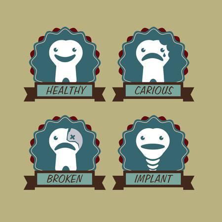 carious: Dental design over beige background, vector illustration