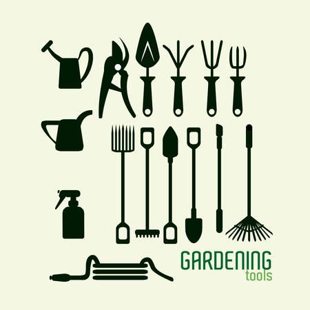 gardening hoses: Tools design over beige background, vector illustration