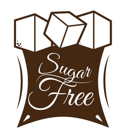 sugar cube: Sugar free over white background, vector illustration