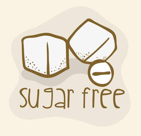 sugar cube: Sugar free over beige background, vector illustration