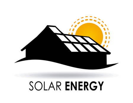 solar panel house: Energy design over white background, illustration