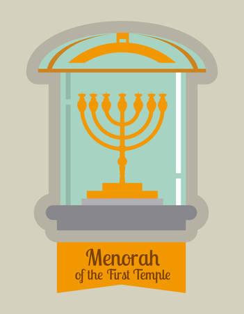 candelabrum: Israel design over white background, vector illustration