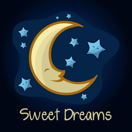 luna caricatura: Dise�o nocturno sobre fondo azul, ilustraci�n vectorial
