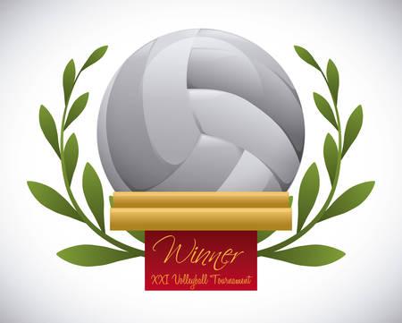 balon voleibol: dise�o del voleibol fondo gris ove ilustraci�n vectorial