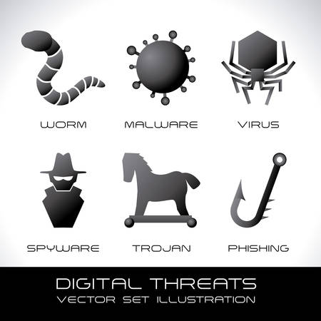 computer virus: security system over gray background vector illustration
