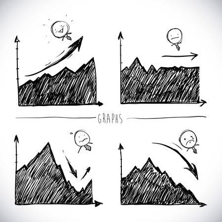 drawn infographics over white background vector illustration