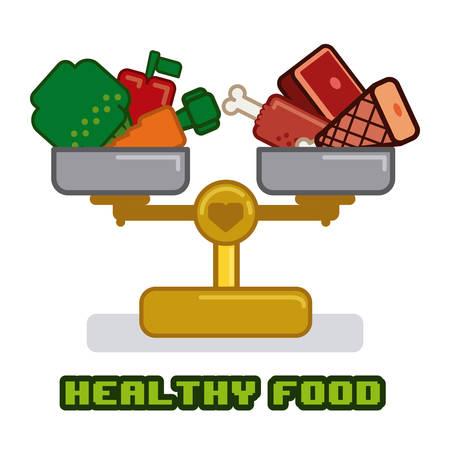 carnes y verduras: diseño sana sobre fondo blanco ilustración vectorial Vectores