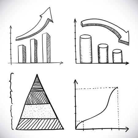 drawn infographics over white background vector illustration  向量圖像