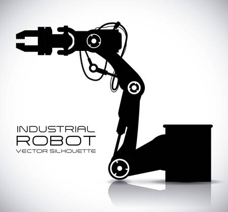 industrial automation: robot design over gray background vector illustration