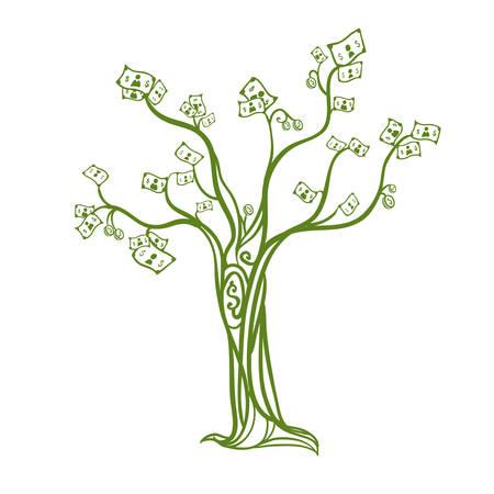 grow money: tree  graphic design , illustration Illustration