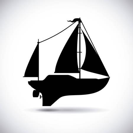 sailling: boat graphic design , illustration