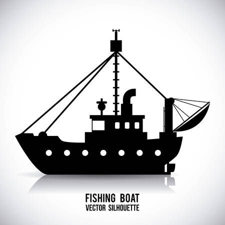 pesca: barco de dise�o gr�fico, ilustraci�n