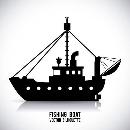 sea fishing: boat graphic design , illustration