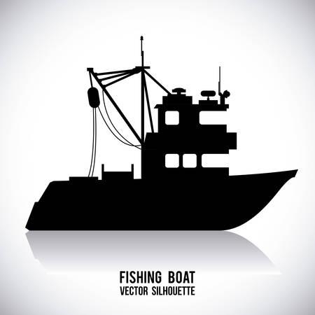 barca da pesca: barca graphic design, illustrazione