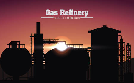 chemical industry: gas refinery graphic design , illustration