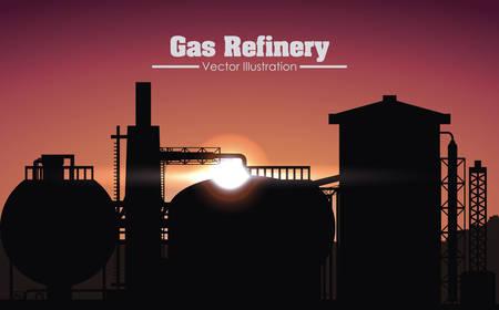 industria quimica: refinería de gas de diseño gráfico, ilustración