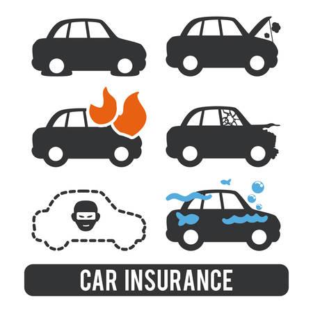 robo de autos: dise�o gr�fico de seguros, ilustraci�n vectorial