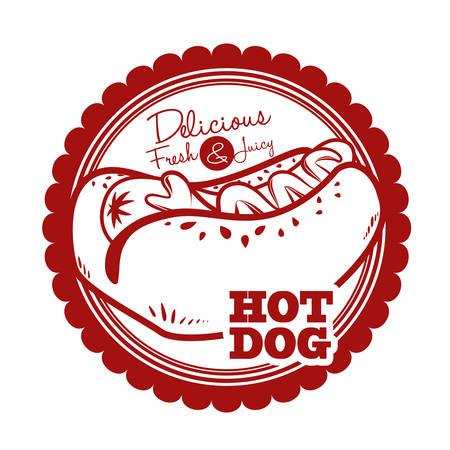 hot dog label: hot dog graphic design , vector illustration