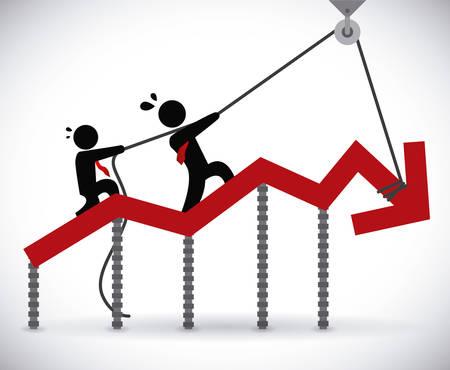 financiële crisis grafisch ontwerp, vector illustratie Stock Illustratie