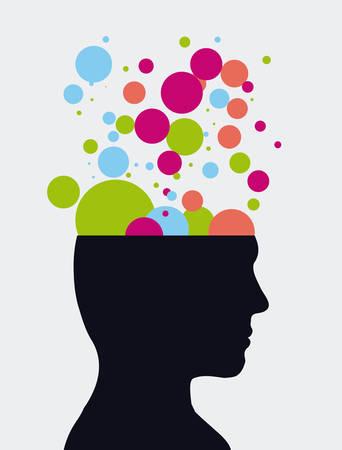 mind: human profile design, vector illustration