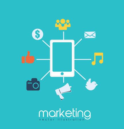 marketing online: digital marketing design, vector illustration