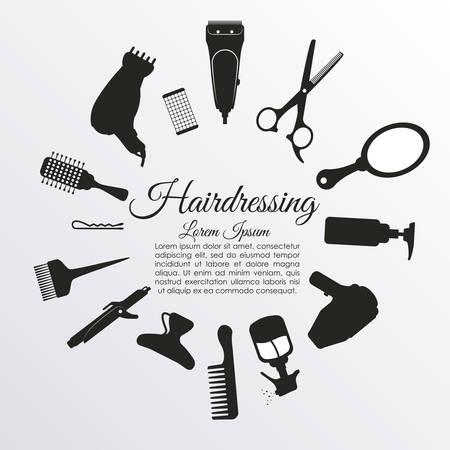 peluqueria: diseño de iconos de peluquería, ilustración vectorial gráfico eps10