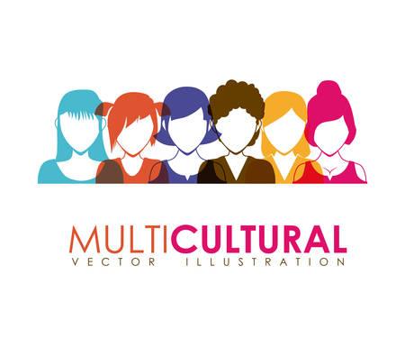 simbolo de la mujer: dise�o multicultural, ejemplo gr�fico del vector eps10