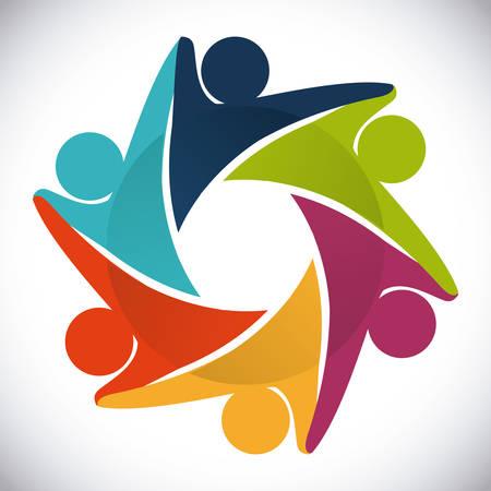 apoyo social: dise�o de la gente de unidad, ejemplo gr�fico del vector eps10