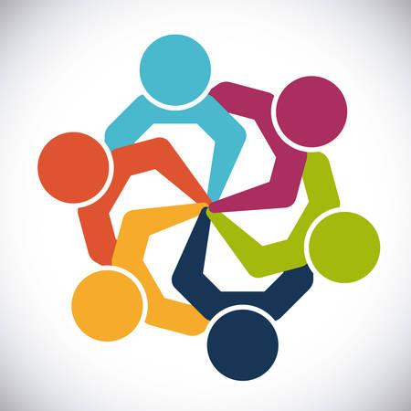 apoyo social: diseño de la gente de unidad, ejemplo gráfico del vector eps10