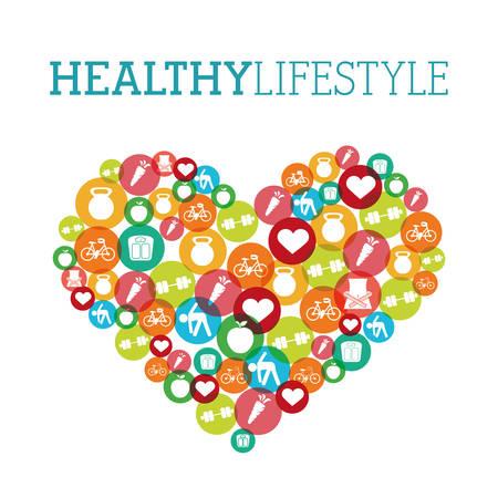 стиль жизни: здоровый дизайн образ жизни, векторные иллюстрации eps10 графический Иллюстрация