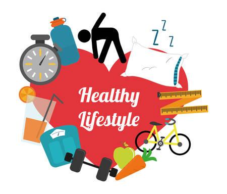 Sağlıklı yaşam tarzı tasarımı, vektör illüstrasyon eps10 grafik